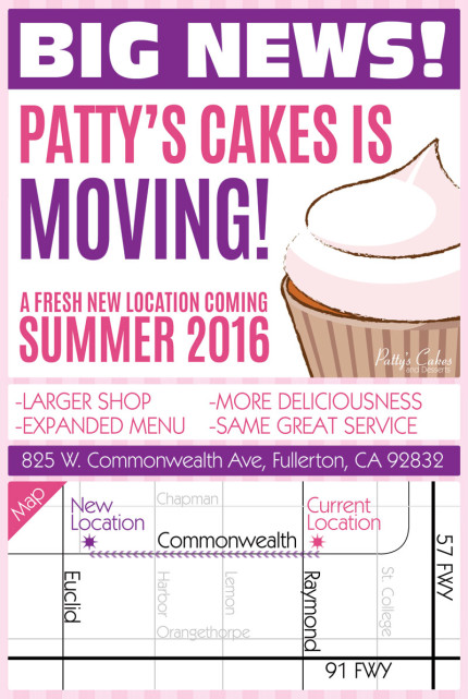 Patty's Cakes is Moving