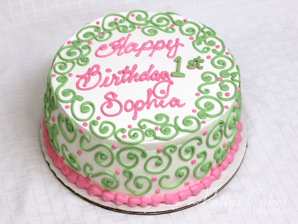 Incredible Photo Of A 1St Birthday Cake Green Pink Pattys Cakes And Desserts Funny Birthday Cards Online Alyptdamsfinfo