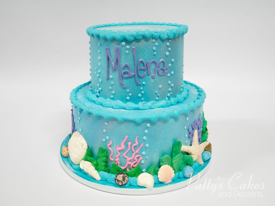 Photo Of A 2 Tier Ocean Beach Birthday Cake Pattys Cakes And Desserts