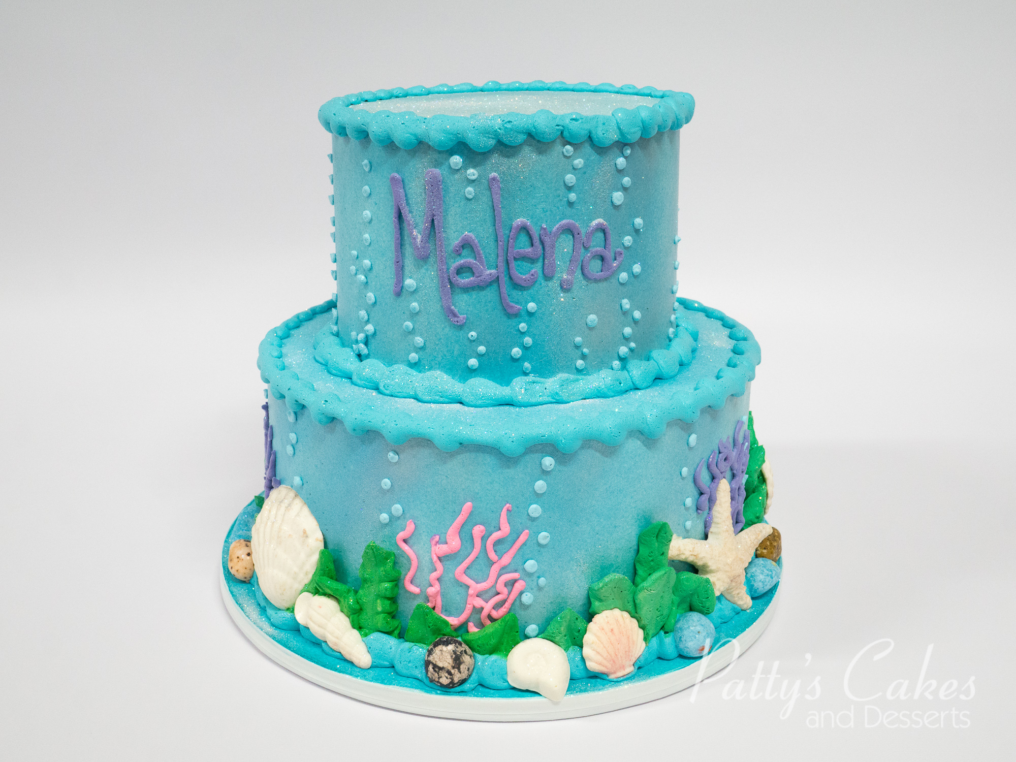 Double Tier Birthday Cake With Fresh Flowers
