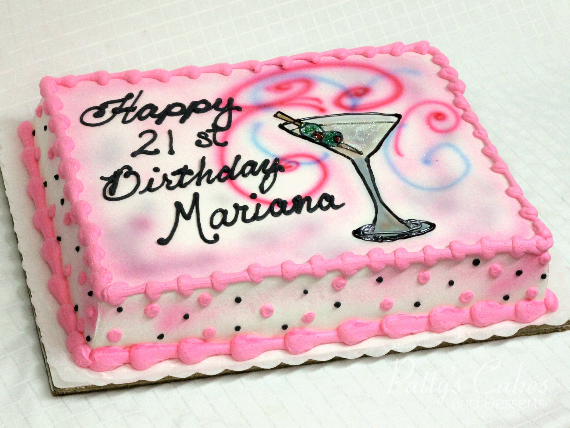 Photo Of A 21st Birthday Cake Martini Glass Pattys Cakes And Desserts