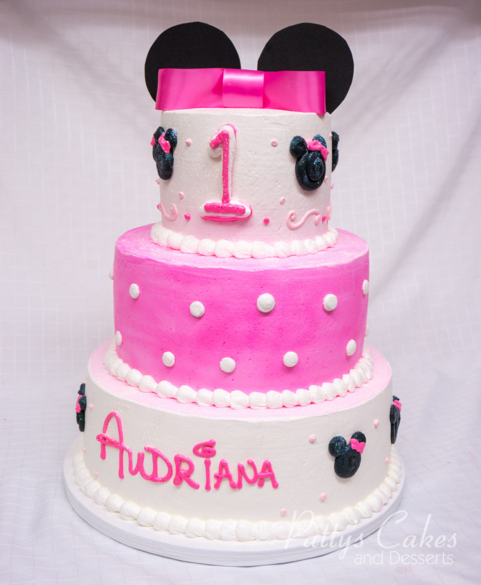 Photo Of A 3 Tier Pink White Black Minie Cake Pattys Cakes And