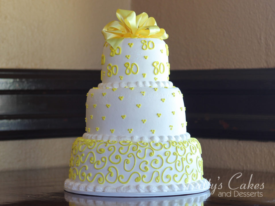 Photo Of A 80th Birthday Cake 3 Tier Yellow