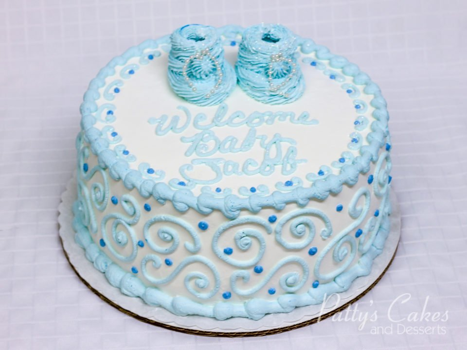 photo of a baby shower cake blue boy round patty s cakes and desserts