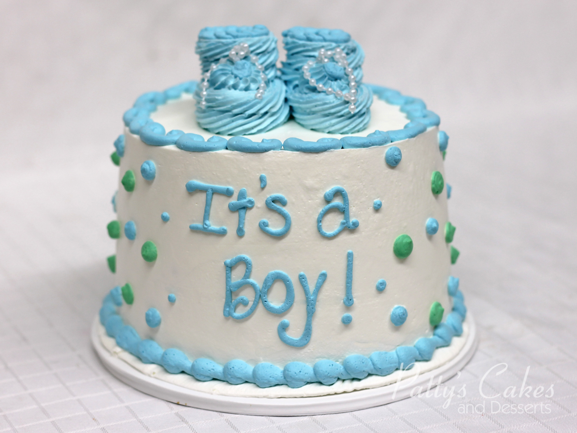 Photo Of A Babyshower Cake Blue Green Round Patty S