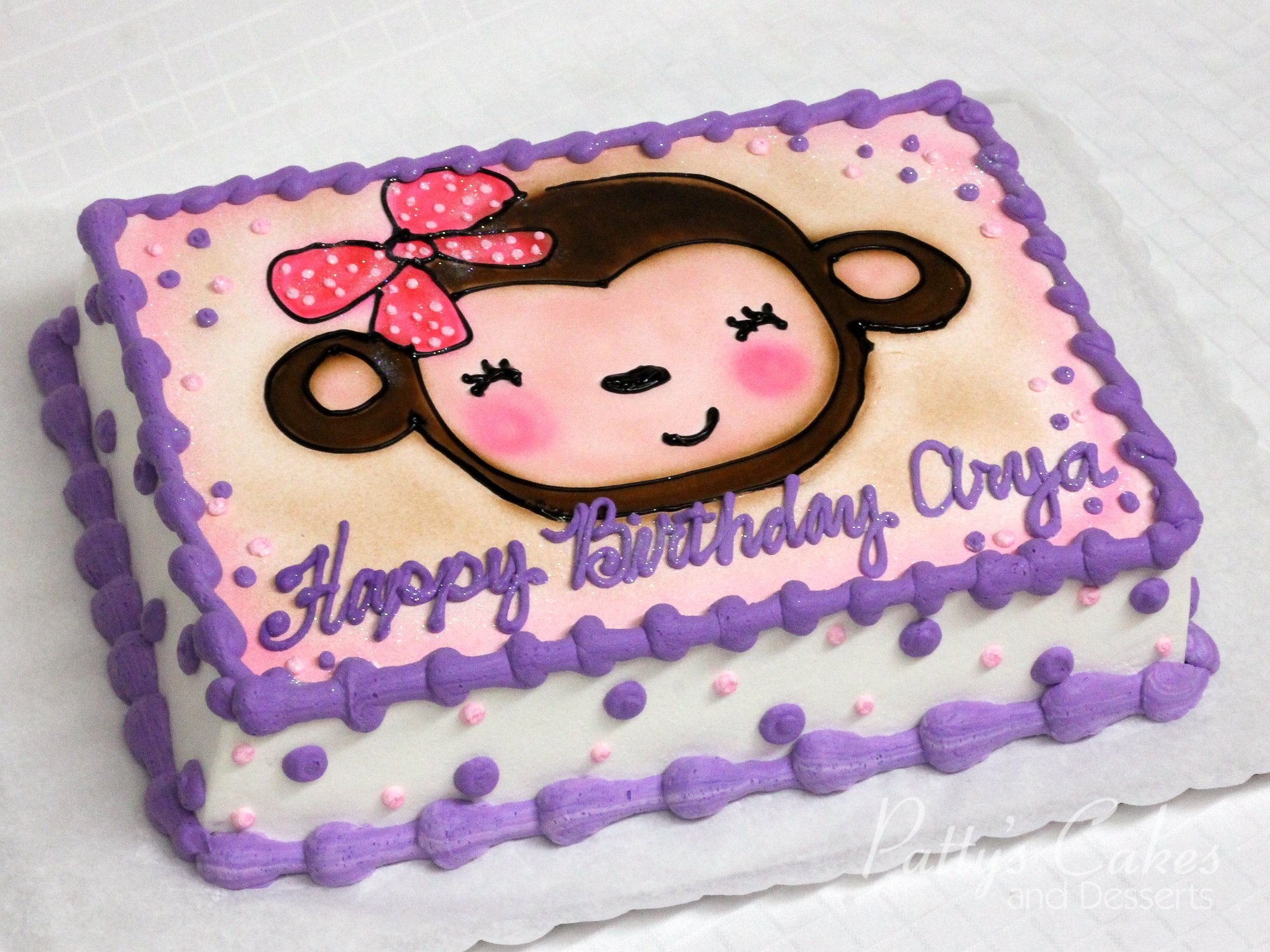Photo Of A Bear Girls Birthday Cake Purple Pattys Cakes And Desserts