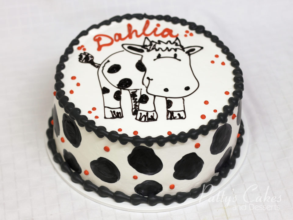 Photo Of A Birthday Cake Cow White Black Red Pattys Cakes And