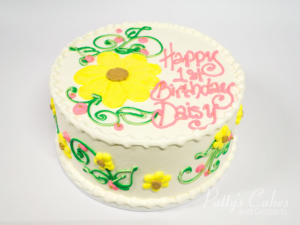Photo Of A Daisy Birthday Cake Pattys Cakes And Desserts