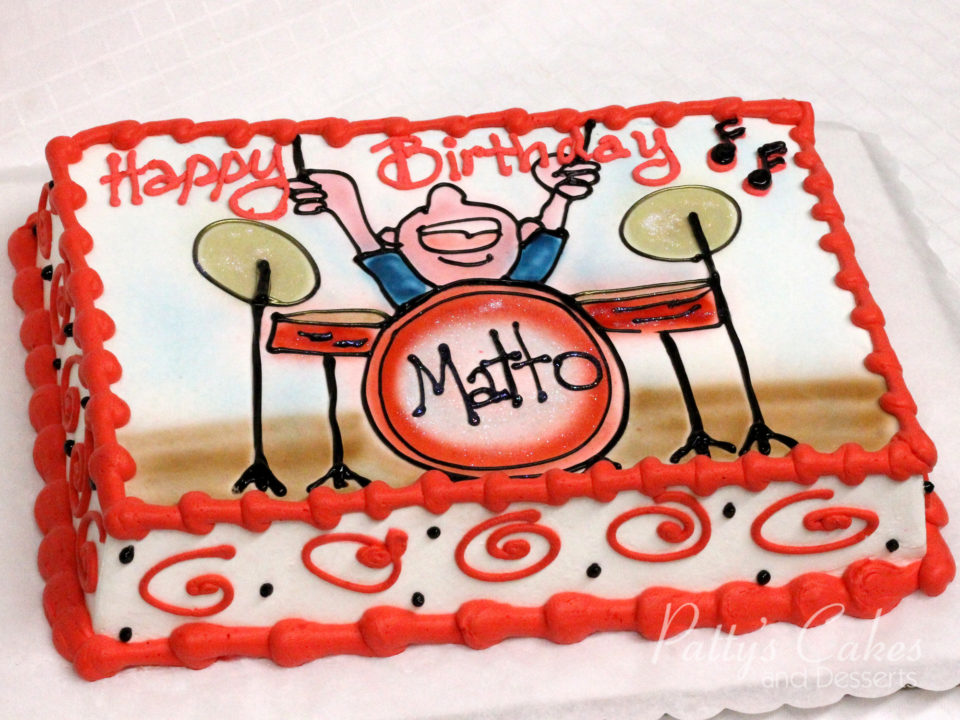 Photo Of A Drummer Birthday Cake Pattys Cakes And Desserts