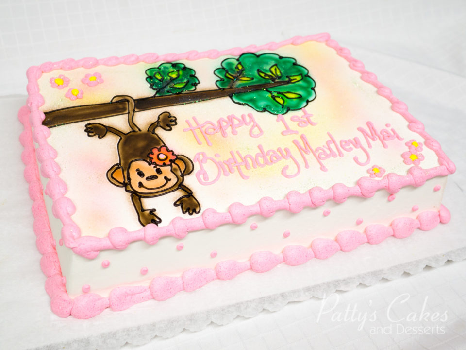 Super Photo Of A Girls First Birthday Monkey Birthday Cake Pattys Funny Birthday Cards Online Alyptdamsfinfo