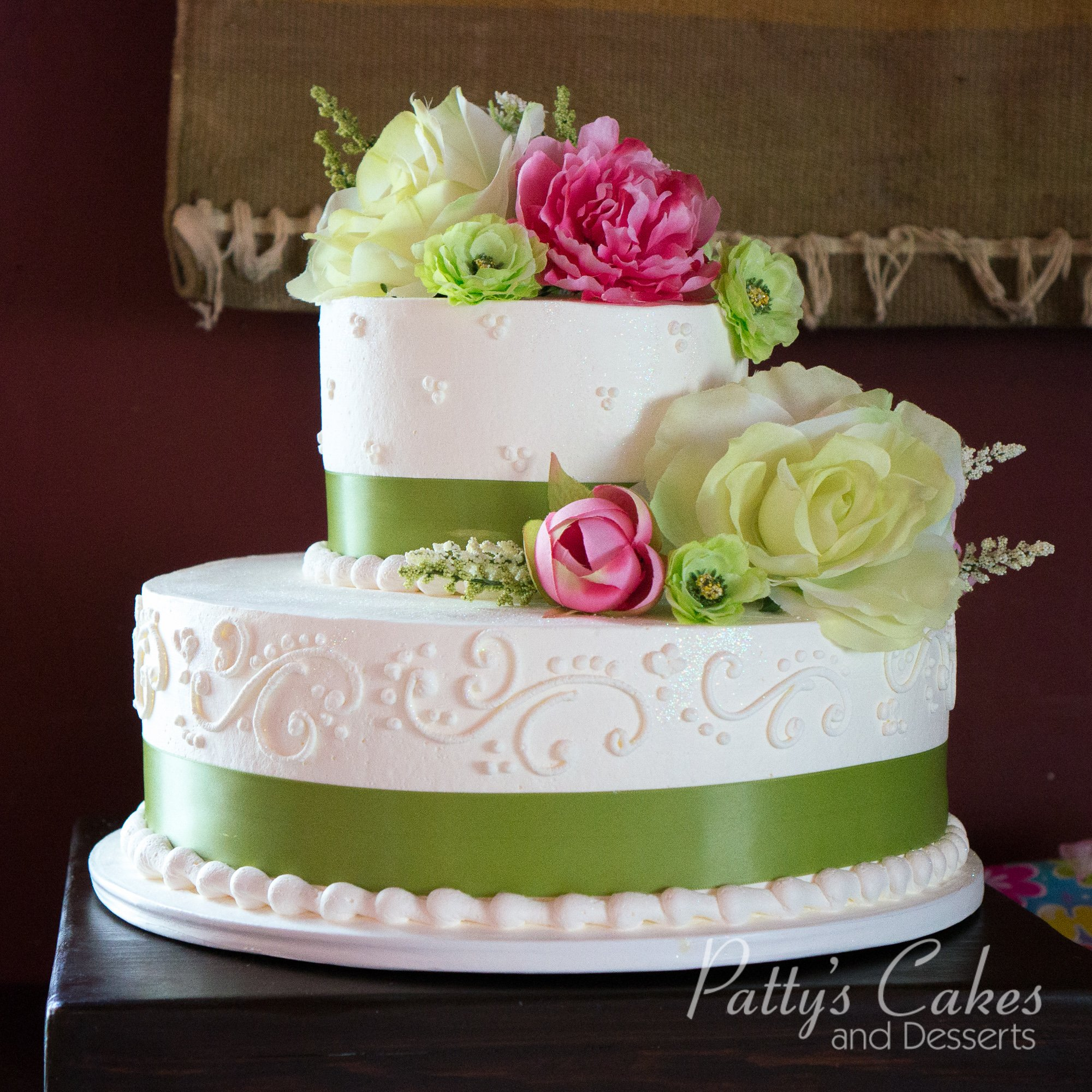 two tier wedding cake white photo of a green white wedding cake 2 tier patty s cakes 21374