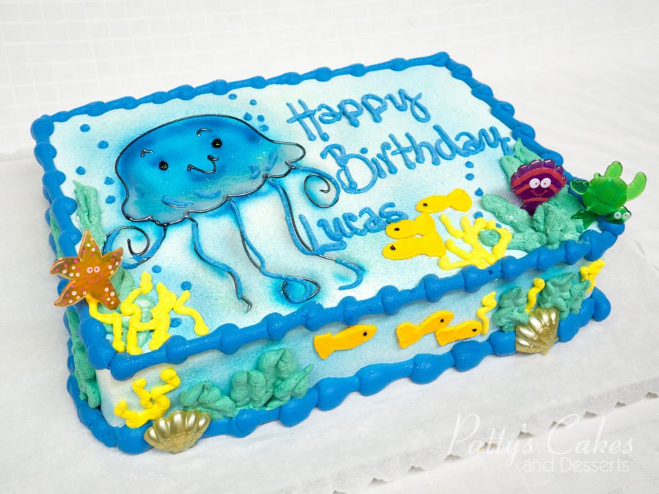 Photo Of A Jelly Fish Ocean Theme Birthday Cake