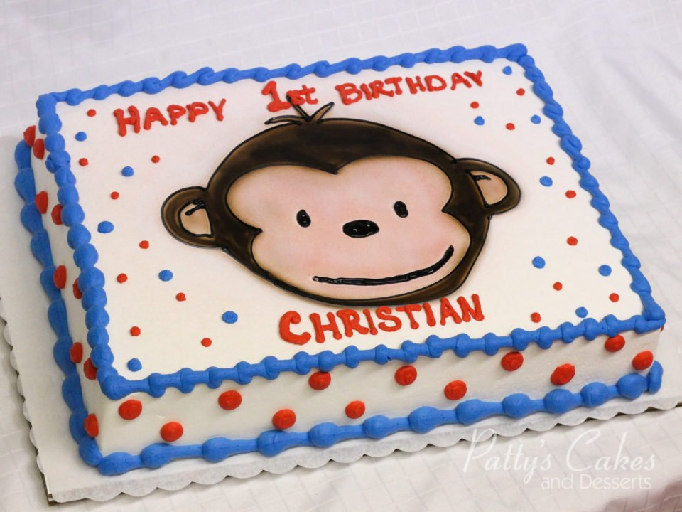 Photo Of A Mod Monkey Birthday Cake Pattys Cakes And Desserts