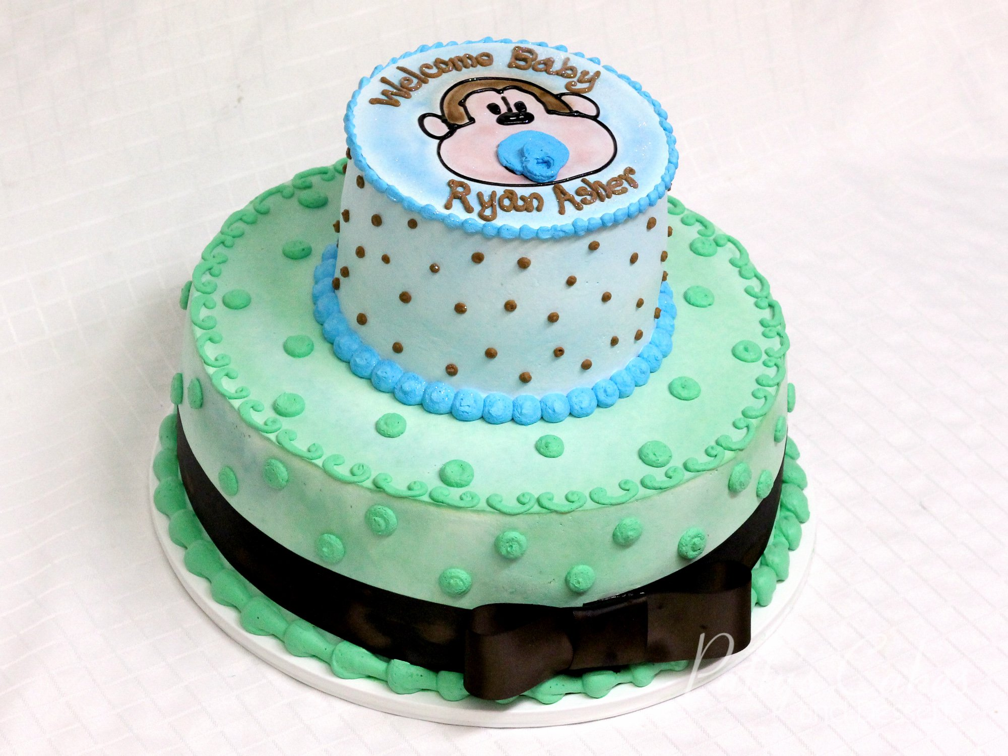 monkey-2-tier-baby-shower-cake