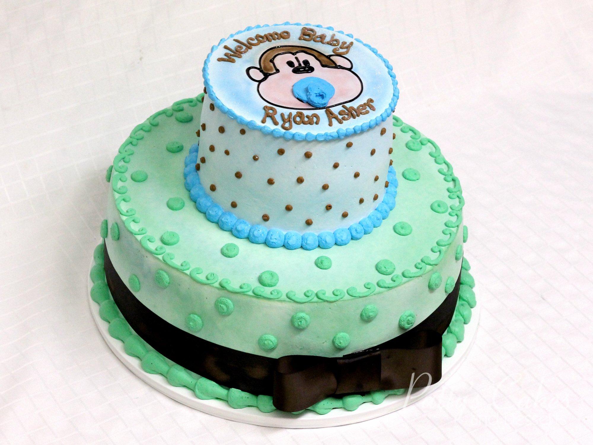 monkey-2-tier-baby-shower-cake