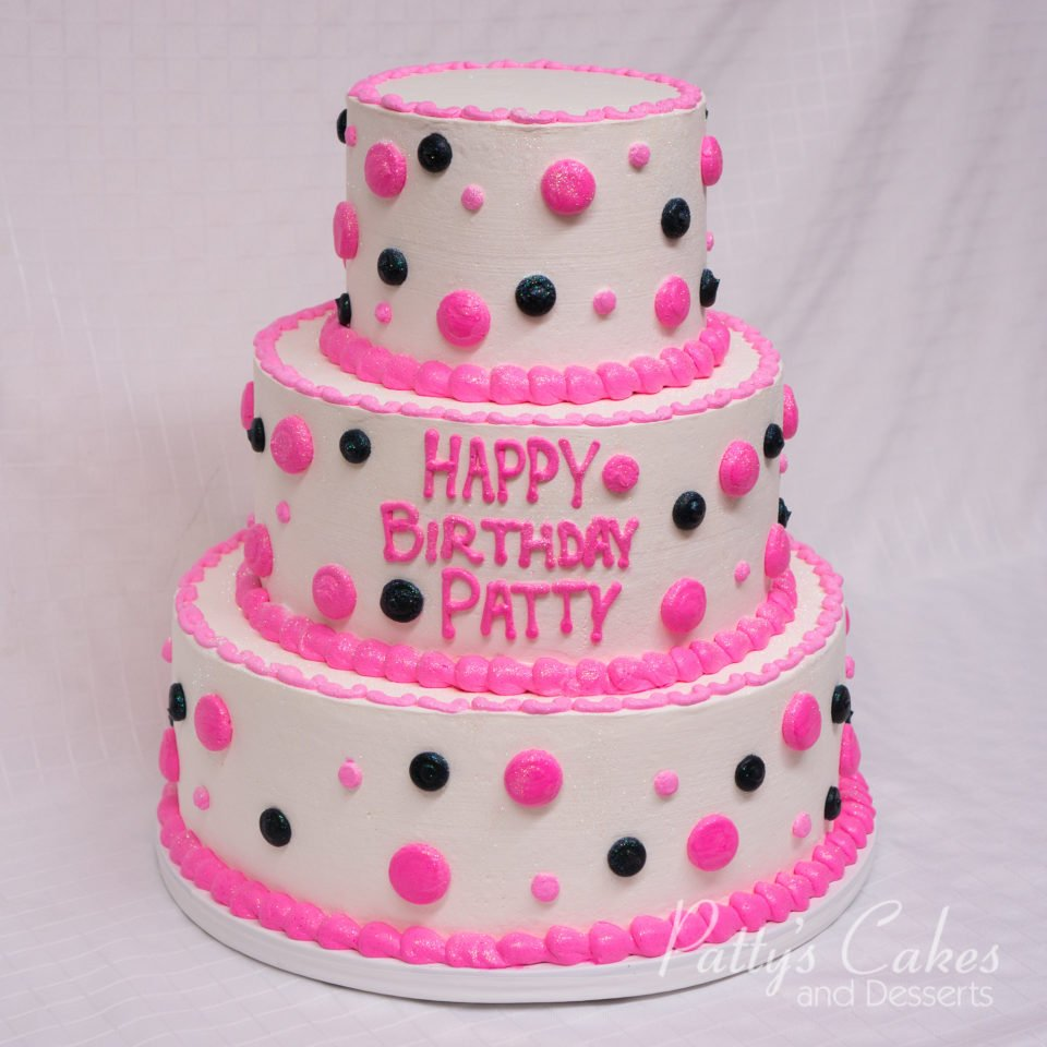 Photo Of A Pink And Black Tiered Birthday Cake Pattys Cakes And