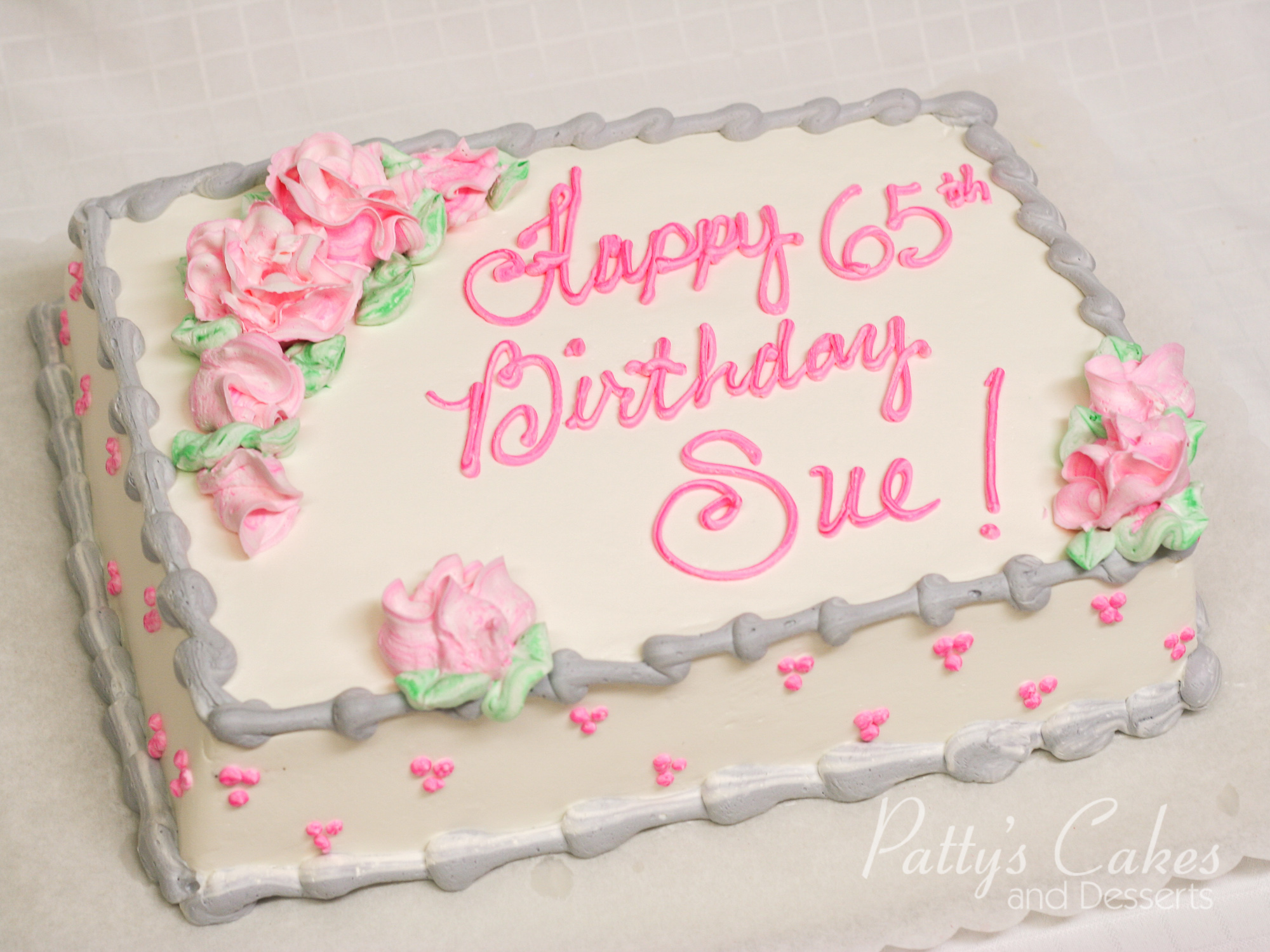 Photo Of A Pink And Grey Birthday Cake Patty S Cakes And