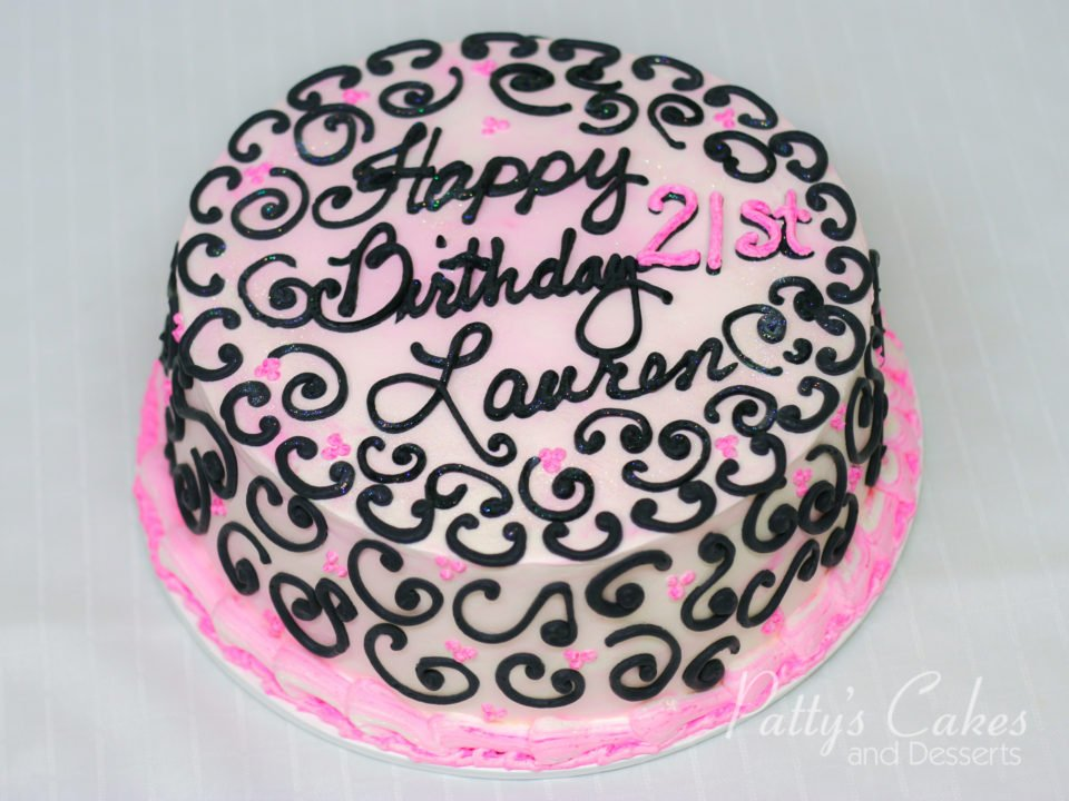 Photo Of A Pink Black 21st Birthday Cake Round Pattys Cakes And