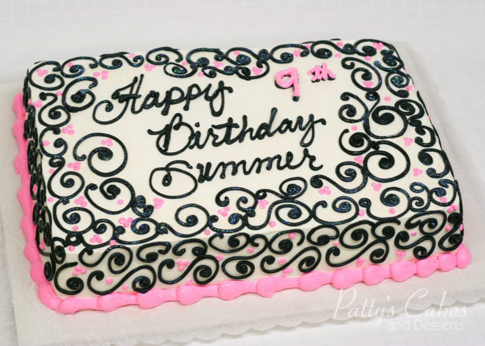 Photo Of A Pink Black Birthday Cake Pattys Cakes And Desserts