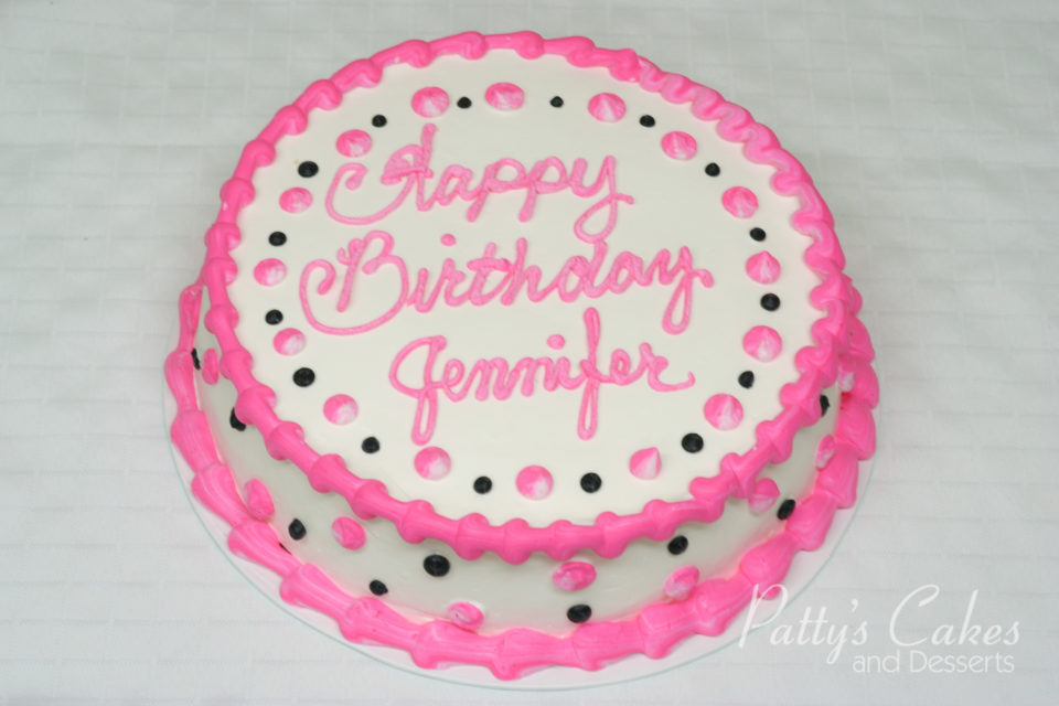 Photo Of A Pink Black Birthday Cake Round Pattys Cakes And Desserts