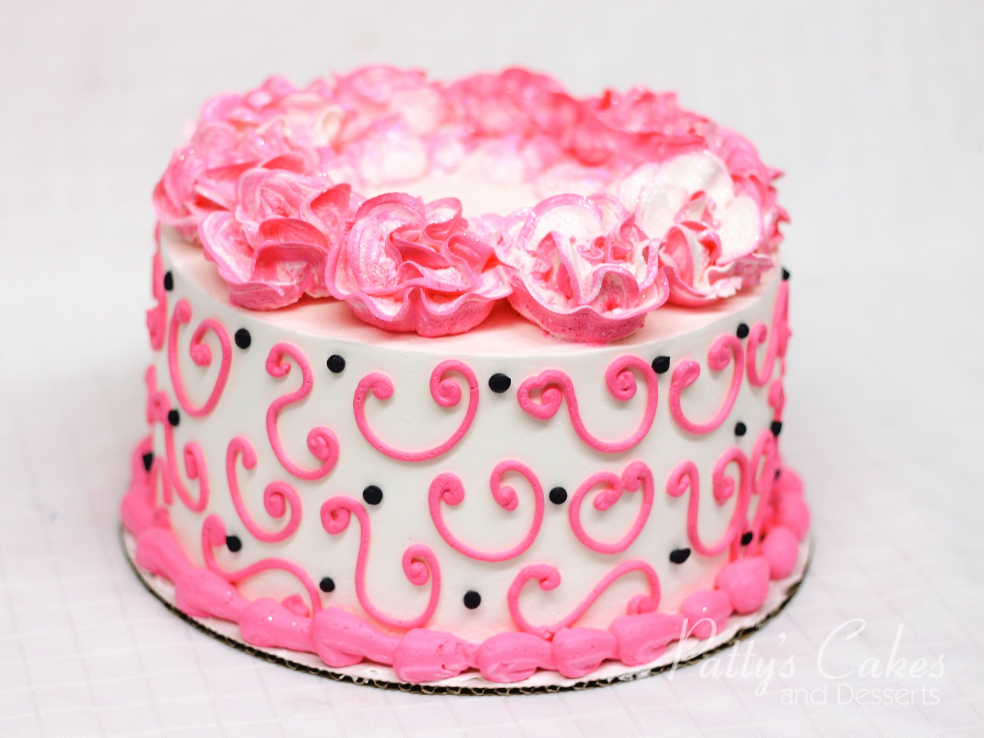 Photo Of A Pink Black Flowers Cake Pattys Cakes And Desserts