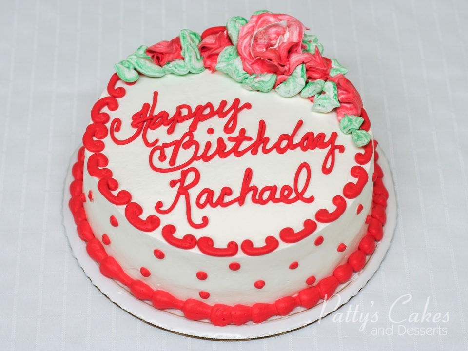 Superb Photo Of A Red White Green Round Birthday Cake Pattys Cakes And Funny Birthday Cards Online Aeocydamsfinfo