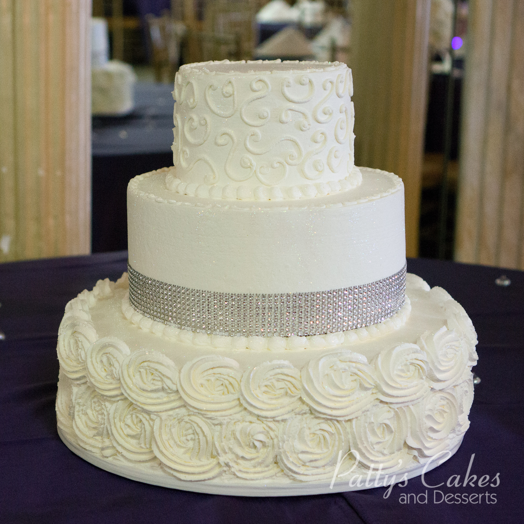 Photo Of A Rosette Bling Wedding Cake Patty S Cakes And
