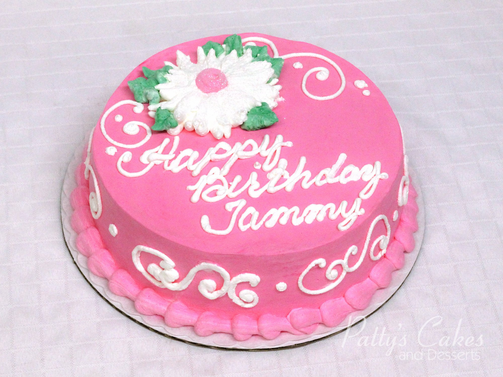 Photo Of A Round Pink White Birthday Cake Pattys Cakes And Desserts