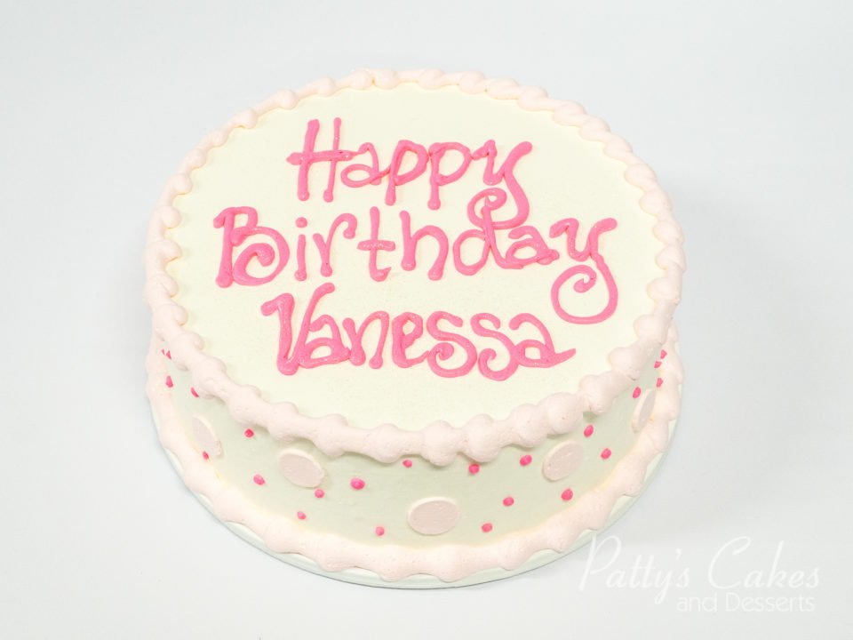 Superb Photo Of A Simple Pink Round Birthday Cake Pattys Cakes And Funny Birthday Cards Online Inifodamsfinfo