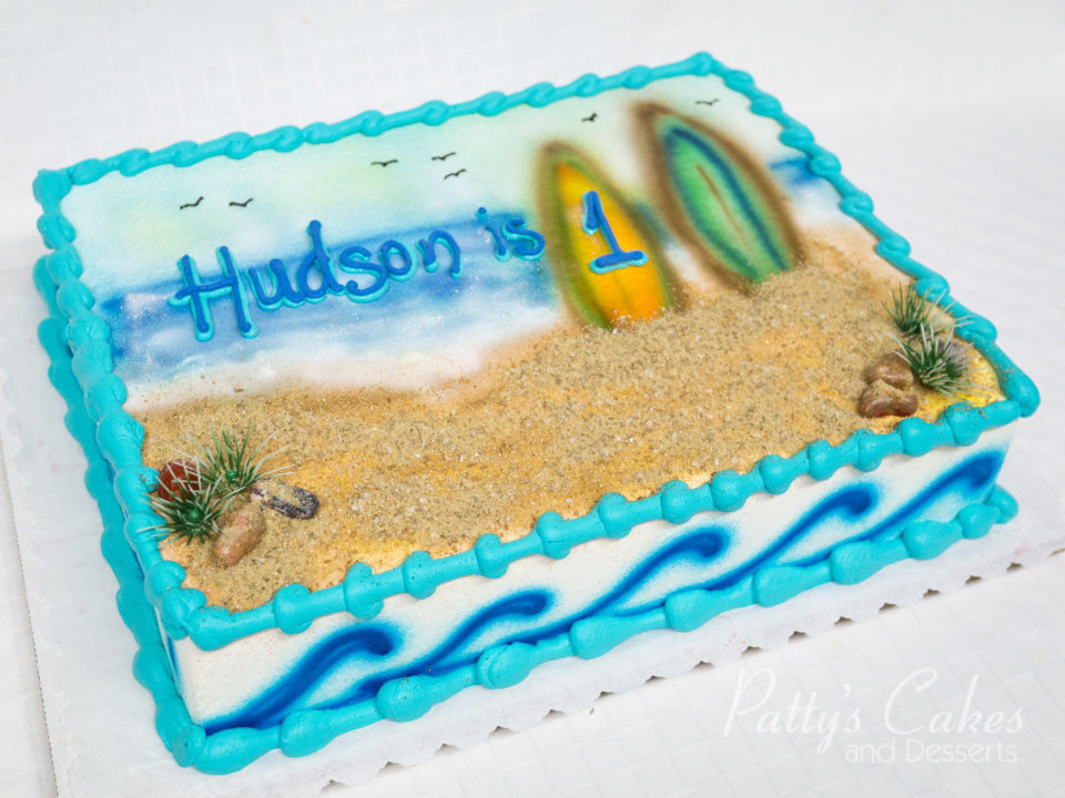 Photo Of A Surfboard Beach Birthday Cake Pattys Cakes And Desserts