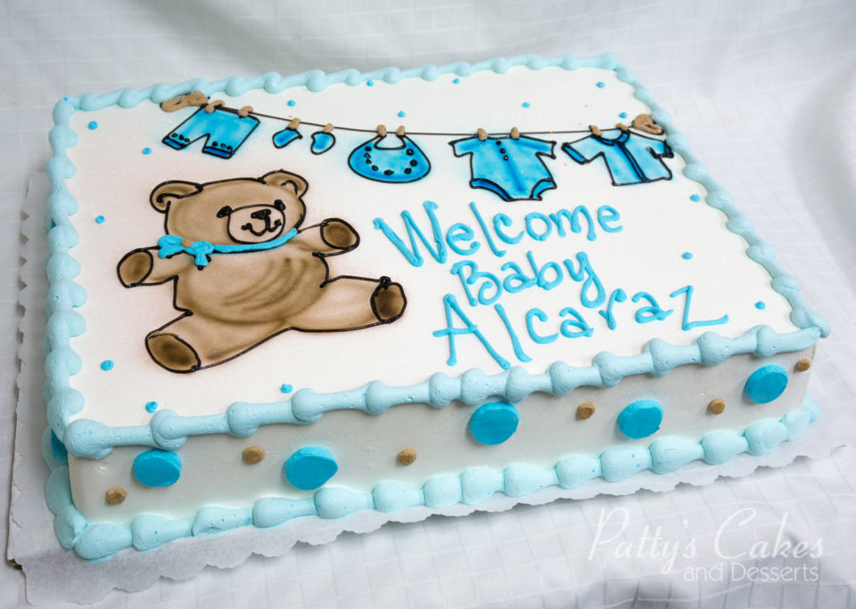 Photo Of A Teddy Bear Baby Shower Cake Pattys Cakes And Desserts
