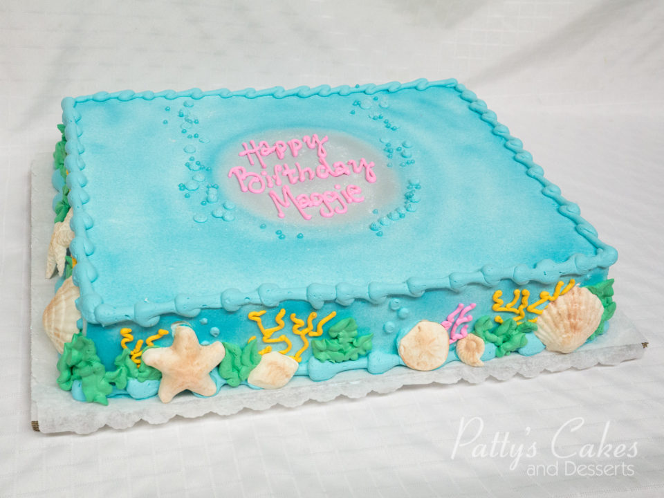 Brilliant Photo Of A Under Water Beach Birthday Sheet Cake Pattys Cakes Funny Birthday Cards Online Eattedamsfinfo