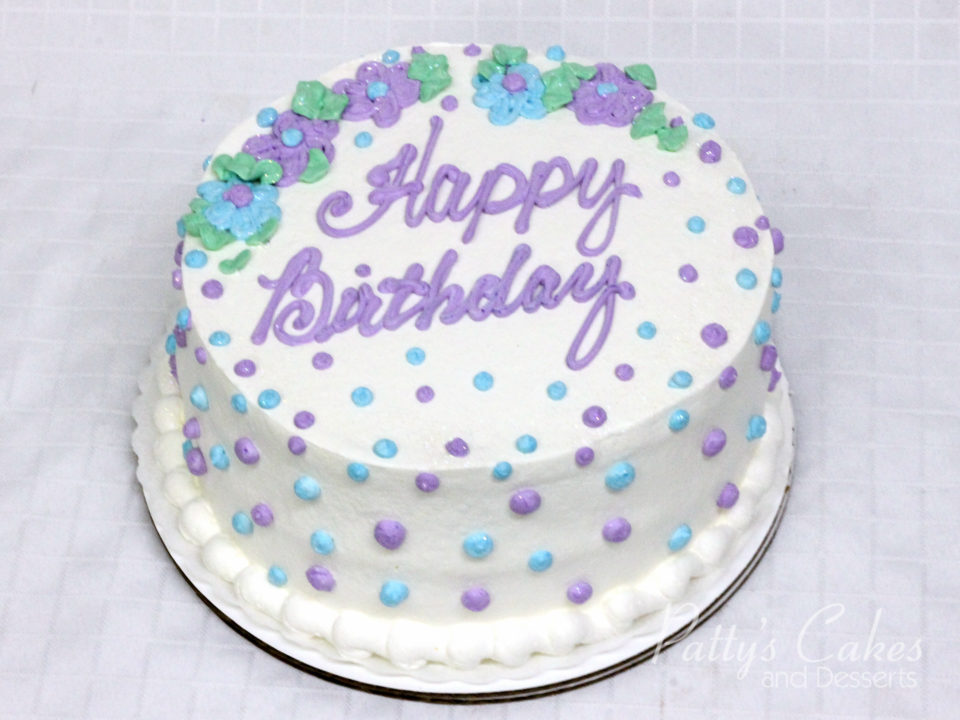 Photo Of A Violet Blue Green White Birthday Cake Pattys Cakes And