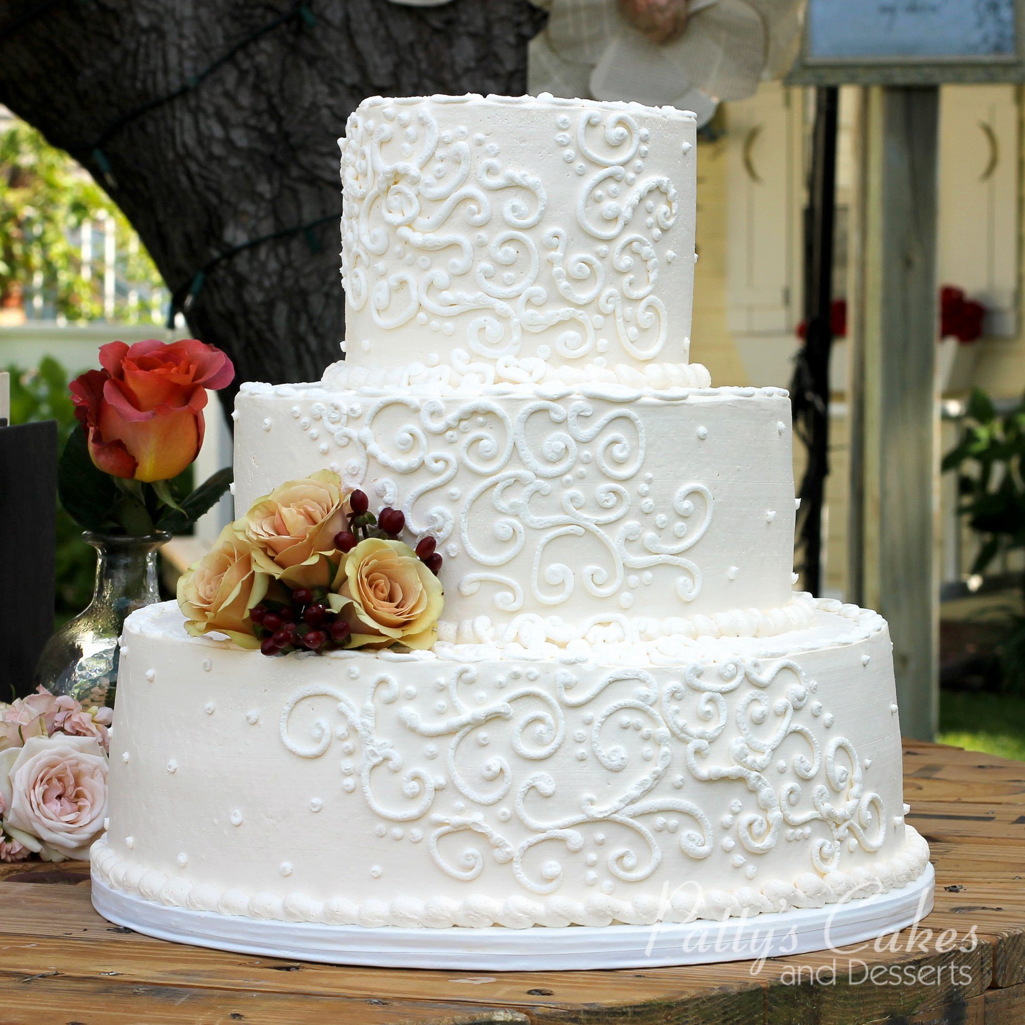 wedding cakes com photo of a wedding cake white 3 tier outside patty s 24101