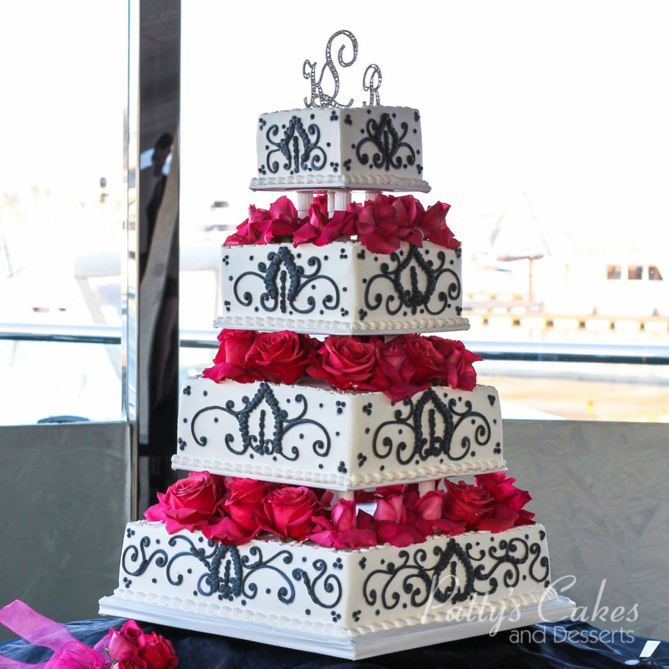 Photo of a wedding cake white black red flowers 4 tiers square photo gallery mightylinksfo