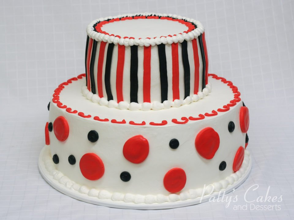 Astonishing Photo Of A White Red Black 2 Tier Birthday Cake Pattys Cakes Funny Birthday Cards Online Inifodamsfinfo