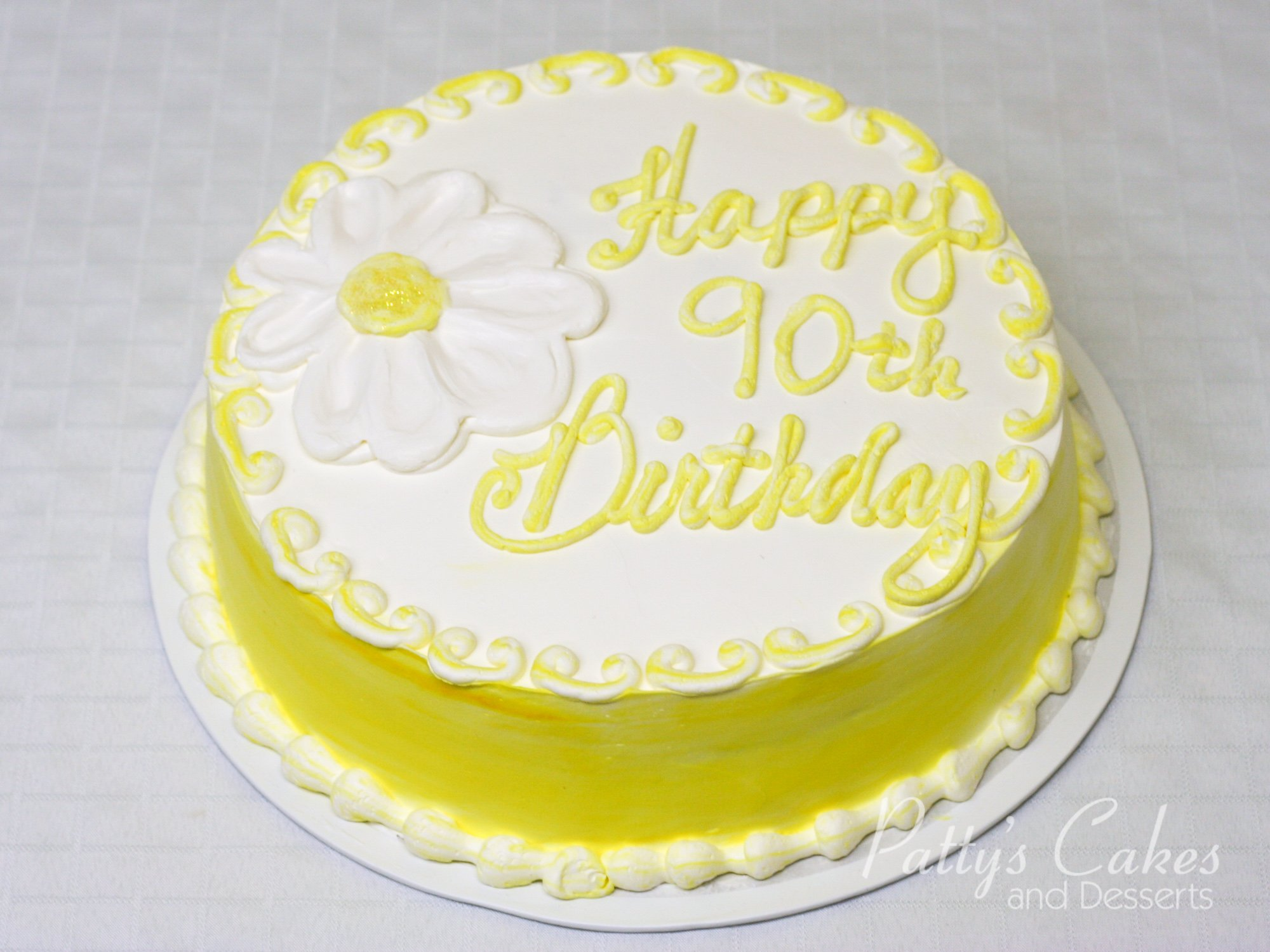 Photo of a yellow 90th birthday cake round - Patty s Cakes ...