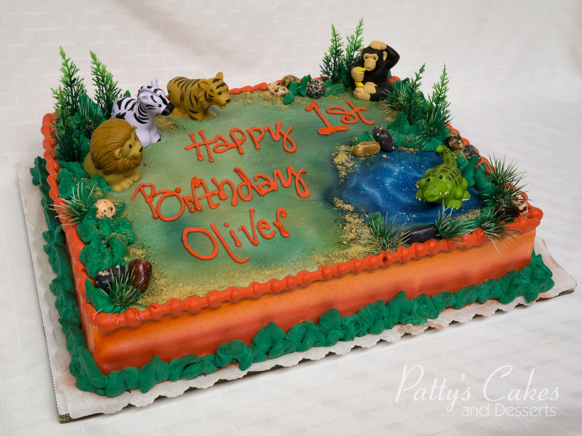 Photo Of A Zoo Themed Birthday Cake Patty S Cakes And