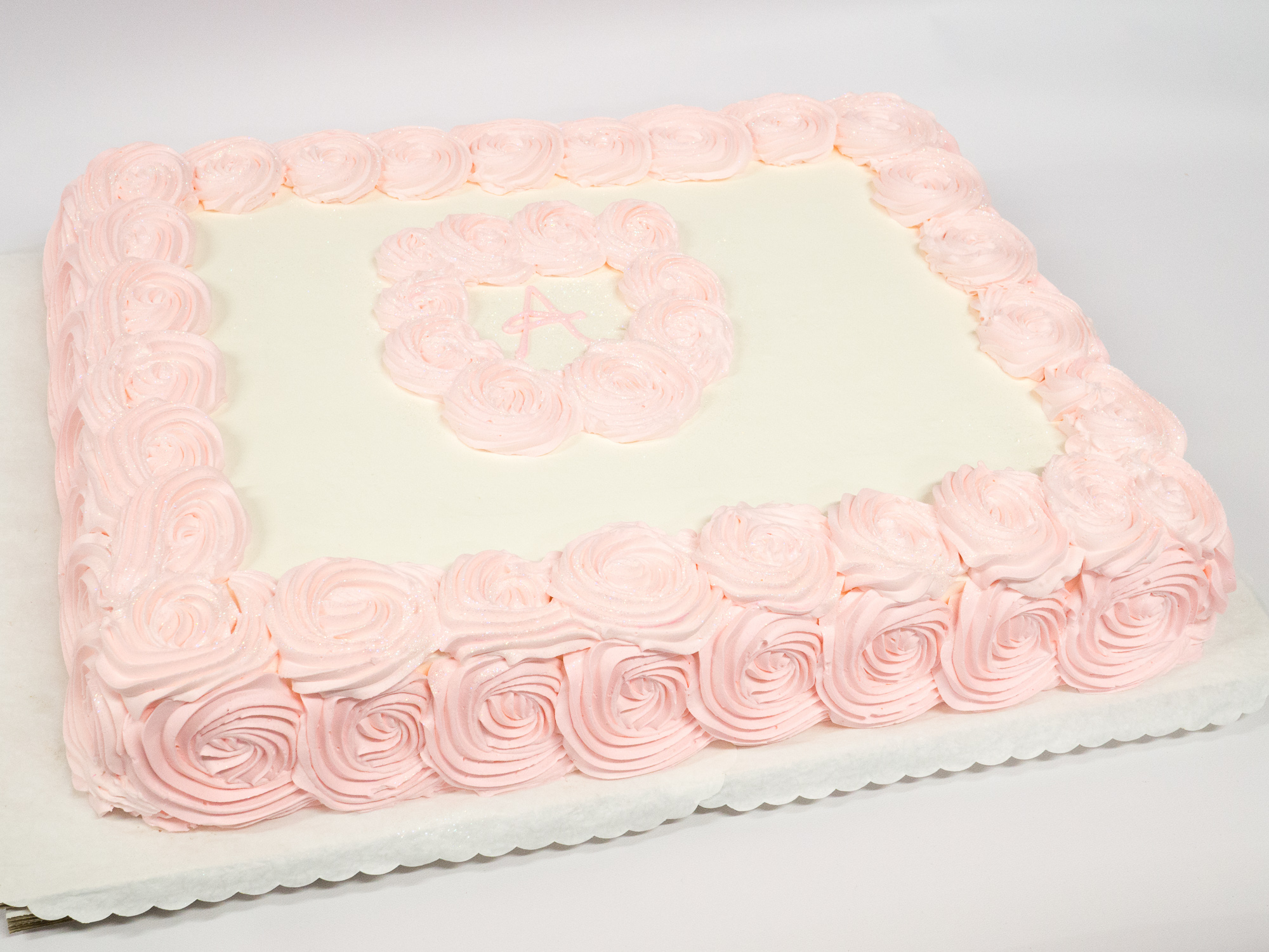 Photo of a baby shower rosette sheet cake - Patty\'s Cakes and Desserts