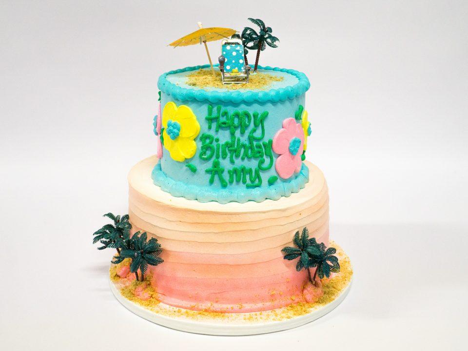 Strange Photo Of A 2 Tier Beach Birthday Cake Pattys Cakes And Desserts Funny Birthday Cards Online Necthendildamsfinfo
