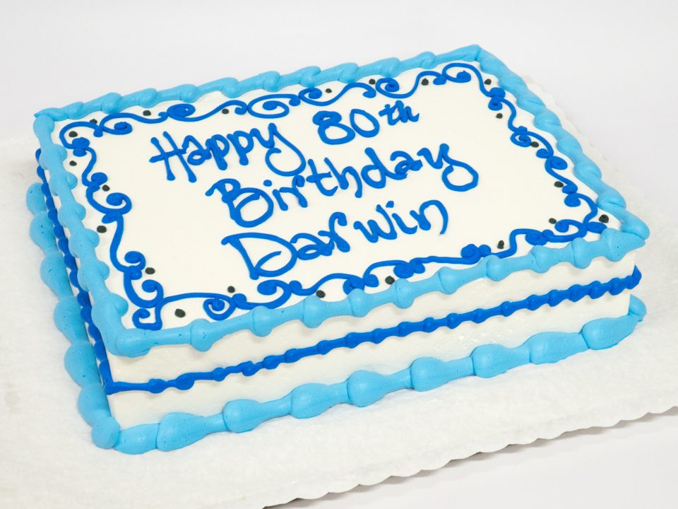 Photo Of A Blue 80th Birthday Cake