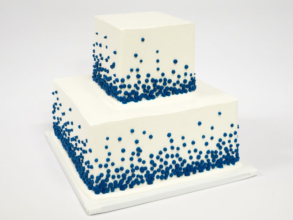Photo Of A Blue Dots Square 2 Tier Cake Patty S Cakes And Desserts