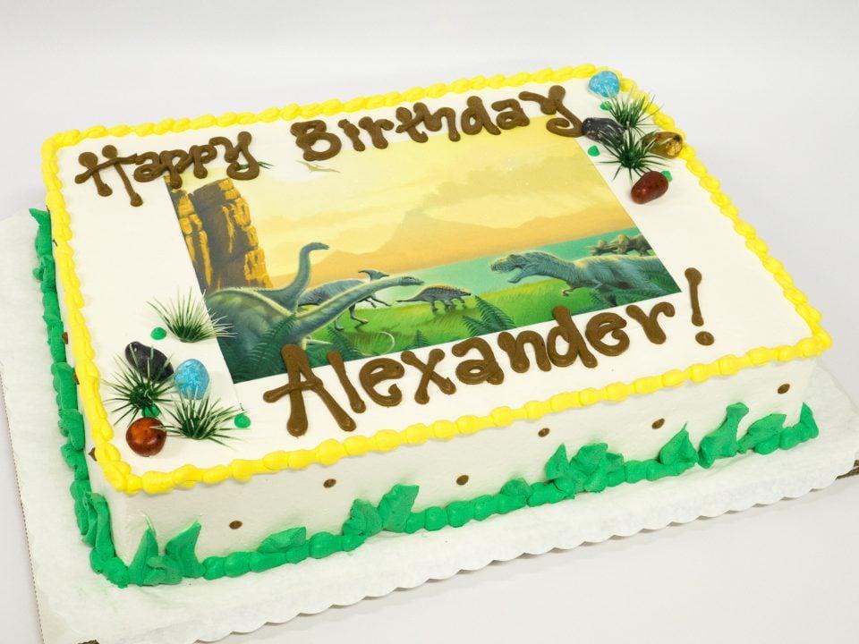 Super Photo Of A Dinosaur Sheet Birthday Cake Pattys Cakes And Desserts Funny Birthday Cards Online Elaedamsfinfo
