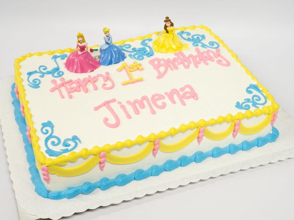 Photo Of A Princess Birthday Cake Pink Yellow Blue Pattys Cakes