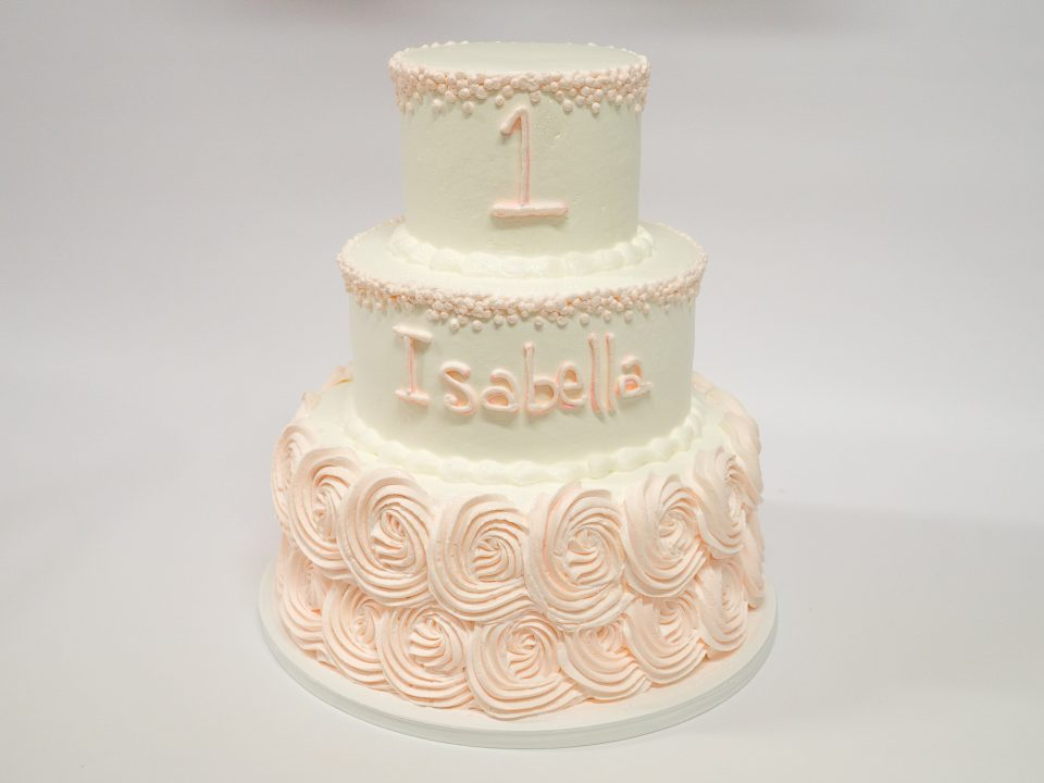 Photo Of A Rosette 3 Tier First Birthday Cake