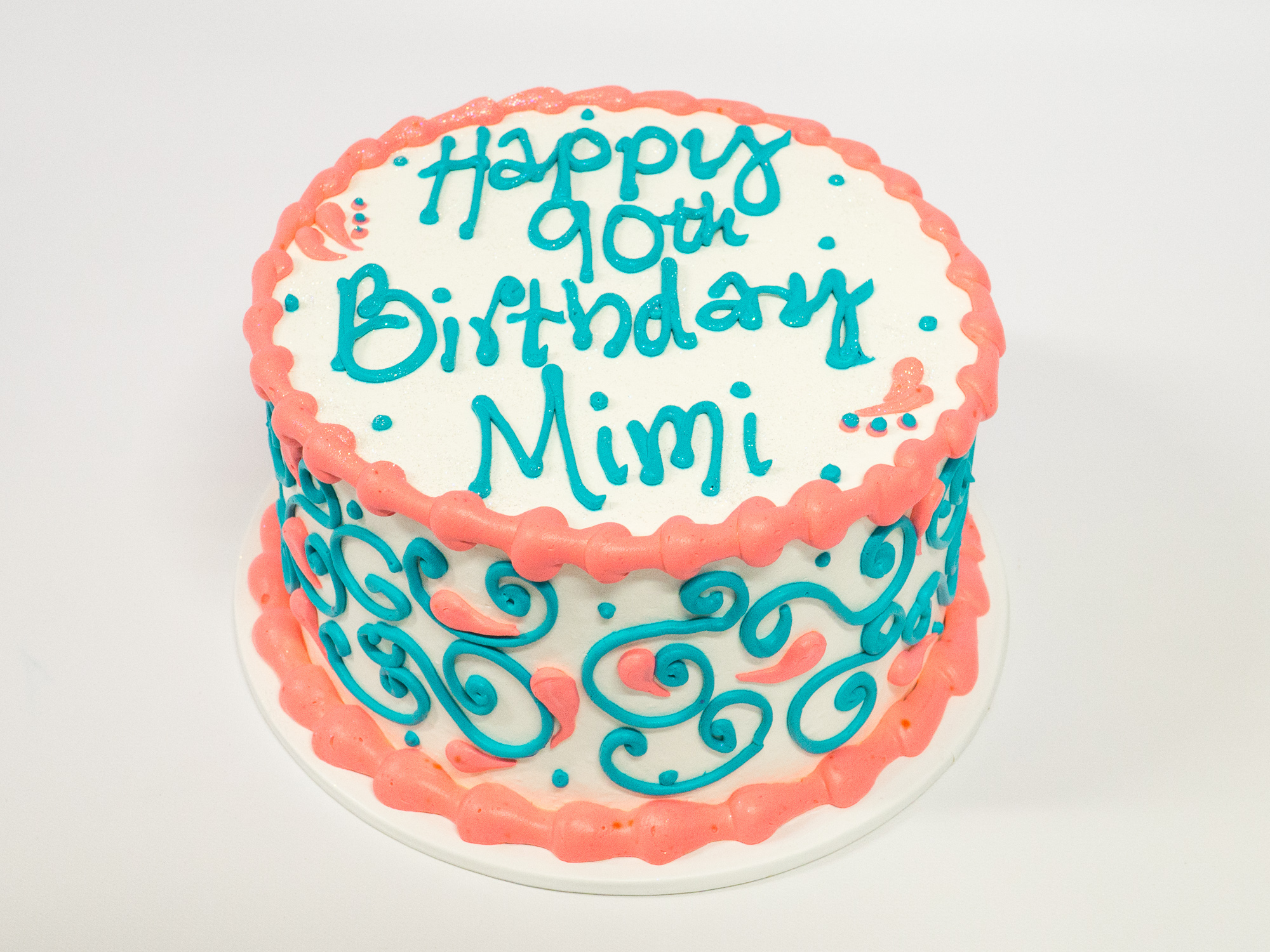 Pleasing Photo Of A Coral And Teal 90Th Birthday Cake Pattys Cakes And Funny Birthday Cards Online Elaedamsfinfo