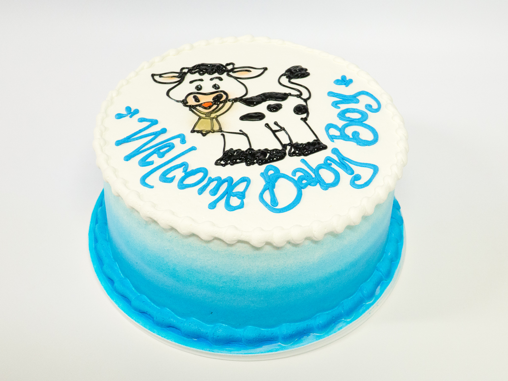 Pleasing Photo Of A Cow Baby Boy Birthday Cake Pattys Cakes And Desserts Personalised Birthday Cards Veneteletsinfo