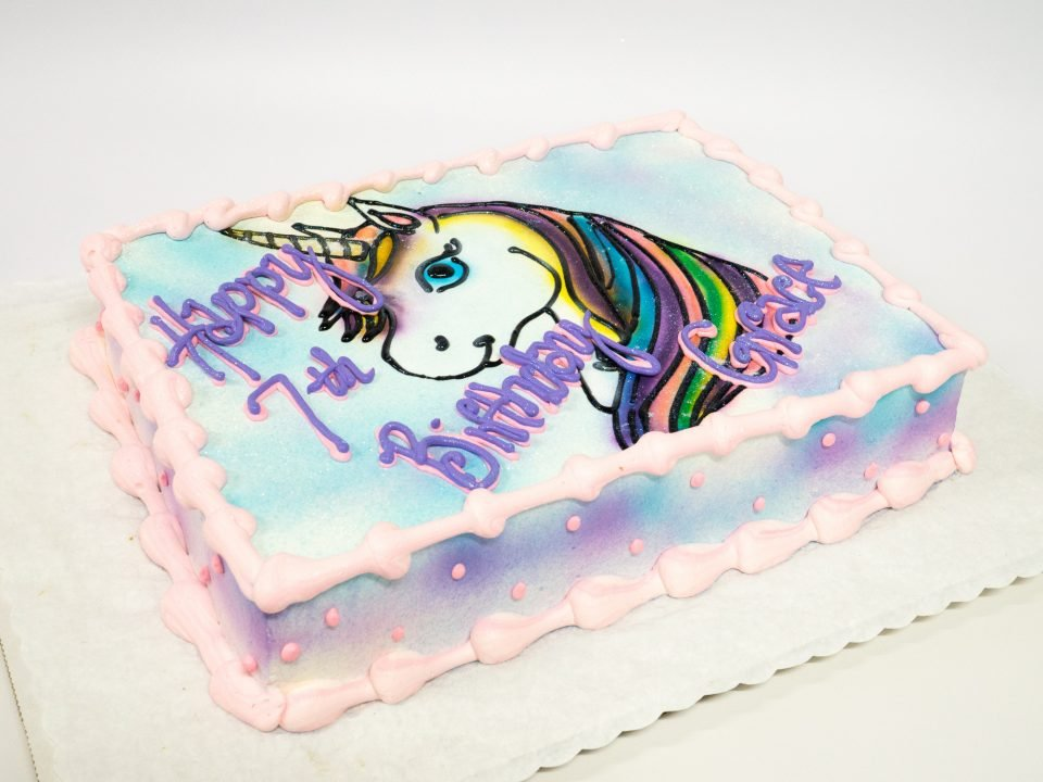 Fabulous Photo Of A Unicorn Birthday Sheet Cake Pattys Cakes And Desserts Personalised Birthday Cards Veneteletsinfo