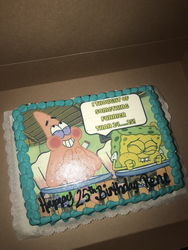 Prime Spongebob Birthday Cake Exceeded Our Expectations Pattys Cakes Personalised Birthday Cards Bromeletsinfo